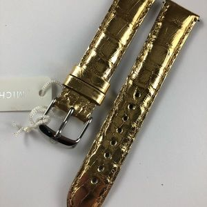 New authentic Michele gold alligator watch band 18